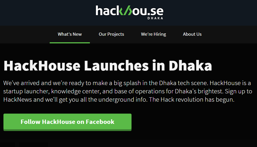 hackhouse web screen