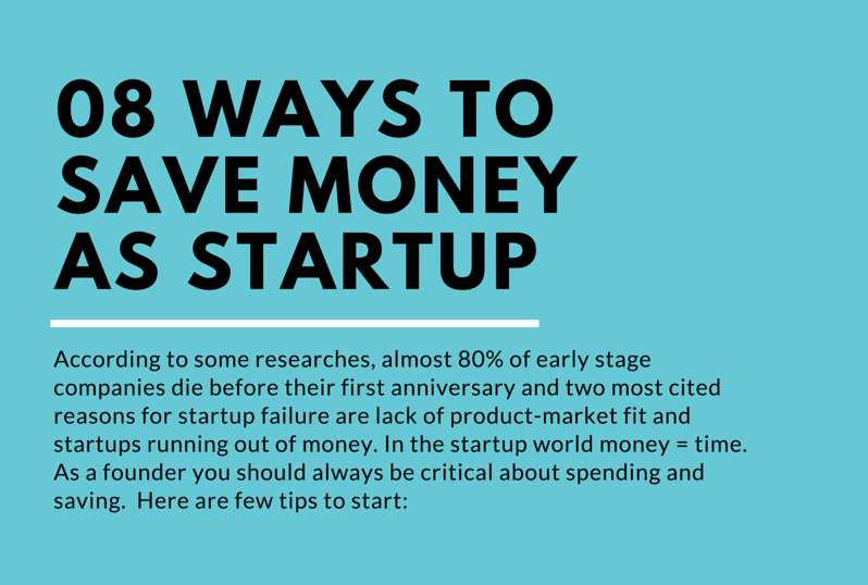 8 ways to save money as startup