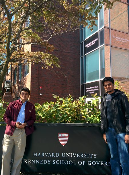 Mridul Chowdhury and Rubayat Khan at Harvard (from left to right)