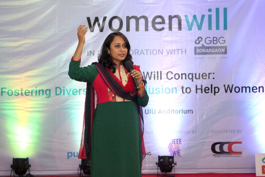Ms. Narmin Tartila Banu, Lead, Womenwill, and Manager, Google Business Group Sonargaon, introducing Womenwill, an initiative from Google, its objectives and upcoming plans | Image by Womenwill