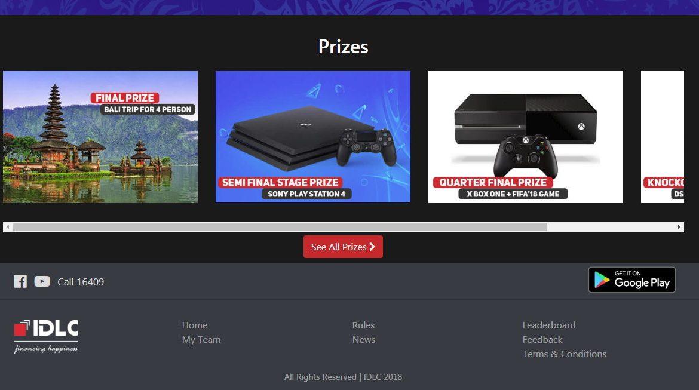App Screenshot - Prizes for winners