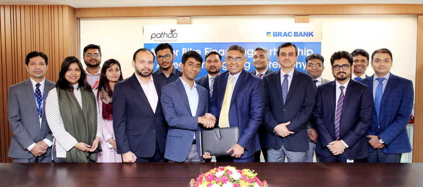 BRAC Bank and Pathao signed an agreement to finance motorbikes for Pathao rider | Photo Pathao