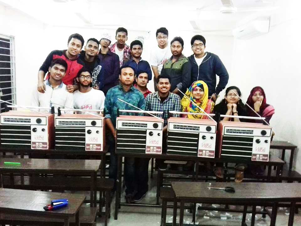 Students making a radio in one of Udvash's branches in Dhaka