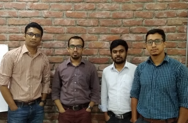 Mr. Aflatun Kaisar, Mr. Ruhul Kader of Future Startup, Mr. Shohrab Hossain and Mr. Omar of Kormo at Shohoz HQ (From Left to right)