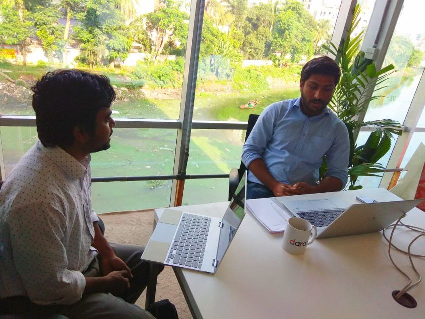 Mr. Bari speaking with team Kormo at Daraz Bangladesh HQ in Dhaka
